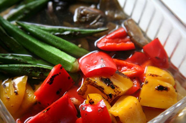 旬の野菜の焼きびたし