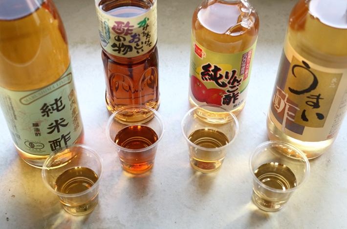 自然舘おすすめのお酢4種、味の違いを比べてみました!